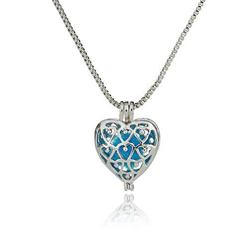 Colar difusor de aromaterapia medalhões de coração oco colar de perfume NX273 Prateado brilhante NX274