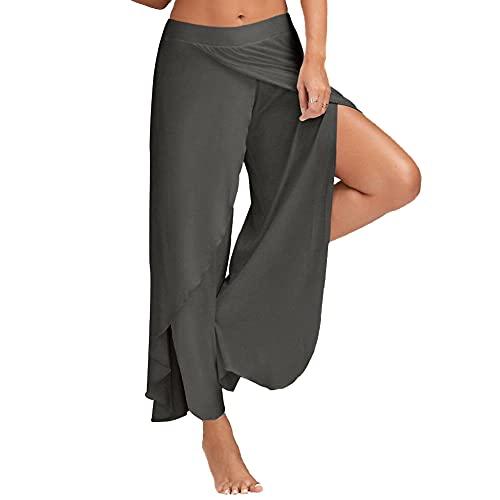 Bebling Pantalones de harén para Mujeres Pantalón de chándal con Abertura Lateral Hippie Yoga Pantalones de chándal de Playa Gris Oscuro, XX-Large