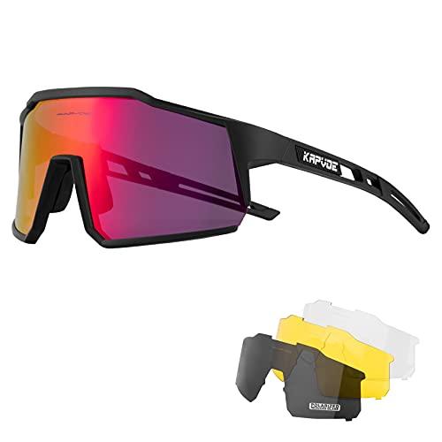 KAPVOE Gafas de Ciclismo Polarizadas con 4 Lentes Intercambiables TR90 Gafas de...