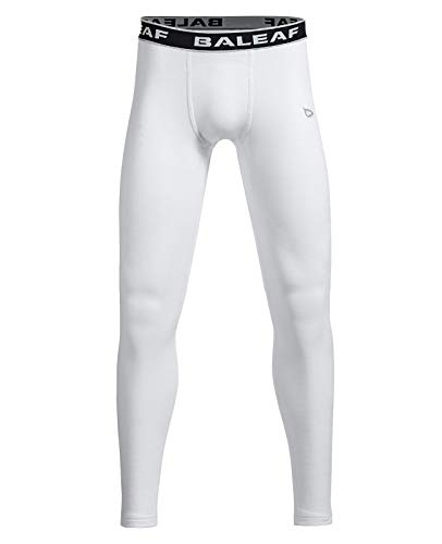 BALEAF Youth Boys' Compression Thermal Baselayer Sport Basketball Tights Fleece Lined Leggings White Size L