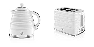 Set of 2 White Patterned Symphony Edition SWAN Kitchen Appliances -1.7L Jug Kettle and Matching 2 Slice Toaster