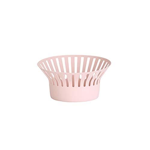 Fruitschaal, Moderne Minimalistische Opbergmand for Snacks In De Woonkamer Creatieve Fruitmand Keuken Afvoer Mand Huishoudelijke Kunststof (Color : Light pink)
