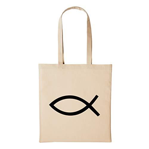 Hellweg Druckerei Jutebeutel Jesus Kirche Fisch Symbol Fish Geschenk-Idee für Damen und Herren Tasche Baumwolle für Freunde und Familie