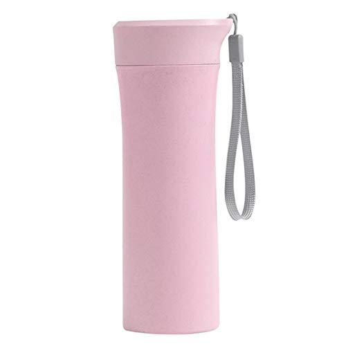 1pc 400-500ml Botella de Agua de plástico portátil de Viaje para Acampar a Prueba de Fugas Taza de Beber de Color sólido Botellas Deportivas para niñas Estudiantes - Rosa