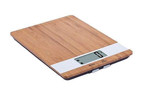 Gezellige & Trendy Keukenweegschaal Elektr.bamboe-wit23x17xh2.2cm 5kg-1gr-excl 2xaaa Batterij