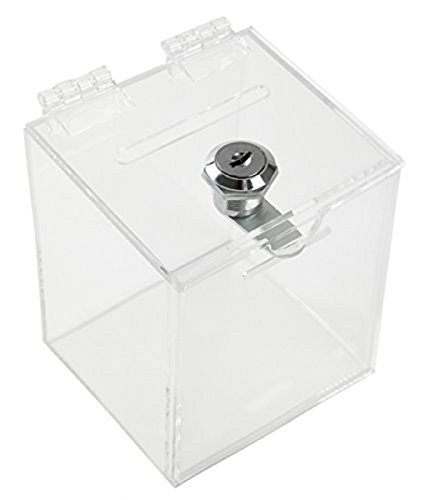 Aoakua 募金箱 貯金箱 チャリティーボックス 鍵付き アクリル W90mm クリア
