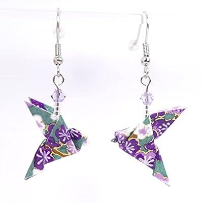 Boucles d'oreilles colombes origami violettes et vertes - crochets inox