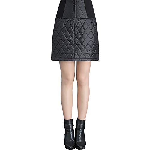 OMKMNOE Damen Padded Reversible Skirt, Kleine Kunstfaserrock Expandable Daunenrock Dicke Warme Daunendecken Slim Fit Hohe Taille Schlanken Langer Weiblicher,Schwarz,XXL