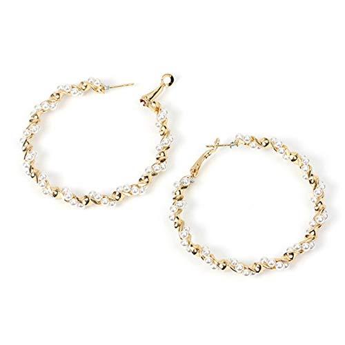 QIN Pendientes de aro de Perlas de Gran tamaño para Mujeres y niñas, Pendientes Grandes retorcidos únicos, Pendiente Circular, joyería de Moda Popular
