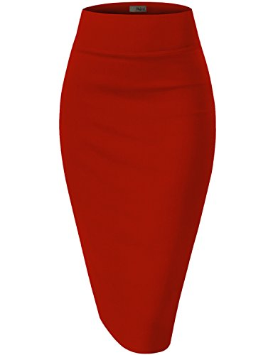 Womens Premium Stretch Office Pencil Skirt KSK45002 RED XLarge