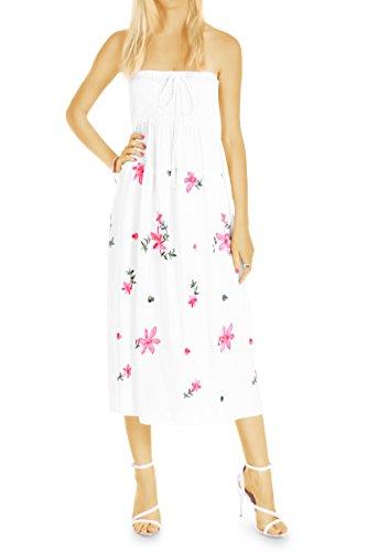 bestyledberlin Kleid, Sommerkleider Bandeaukeid k82p weiß