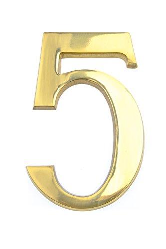 HUBER número de casa 5 de latón 20 cm I números de casa para puerta I número de casa XL I placas de número de casa en latón noble diseño 3D, brillante