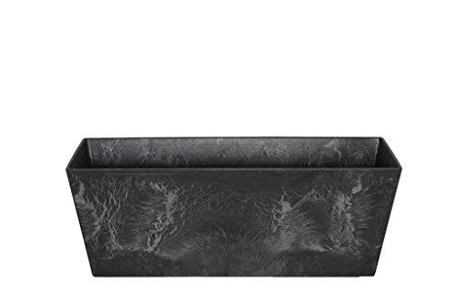 Artstone Vaso da Fiori Contenitore da Balcone Ella, Resistente al Gelo e Leggero, Nero, 55x17x17cm