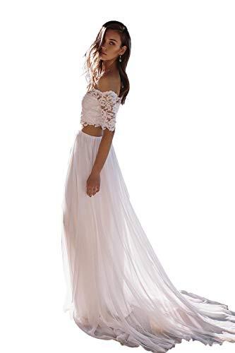 Nanger Damen Hochzeitskleider Zweiteilig Chiffon Spitze Brautkleider Standesamt Boho Lang Weiß 36