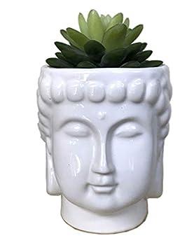 MONMOB 4.6Inch Ceramic Buddha Head Planter Pot Face Planter Zen Succulent Plant Pot Pen Holder Pencil Cup Brush Holder Pot Home Office Room Decor Multi-use White