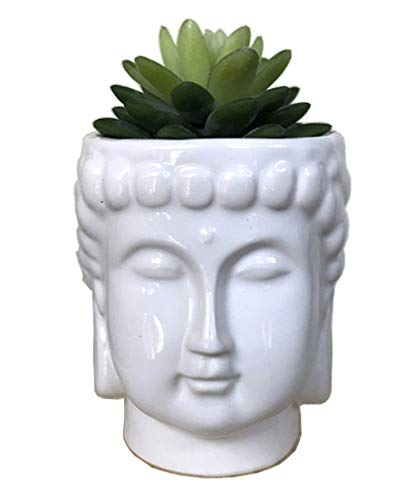 MONMOB 4.6Inch Ceramic Buddha Head Planter Pot Face Planter Zen Succulent Plant Pot Pen Holder Pencil Cup Brush Holder Pot Home Office Room Decor Multi-use(White)