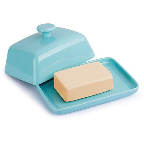 Sweese 314.102 Butterdose Porzellan, Klassische Butterschale für 250 g Butter, Groß, Helltükis