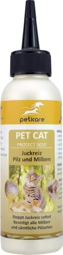 Peticare Spezial-Pflege bei Juckreiz, Milben bei Katzen - Stoppt effektiv Jucken durch Pilzbefall und Milbenbefall, rein pflanzliche Inhaltsstoffe - petCat Protect 3010