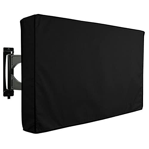 Yuvera Cubierta de TV impermeable al aire libre multifuncional plegable resistente a la intemperie caja de TV cubierta protectora se adapta a la mayoría de soportes y soportes negro