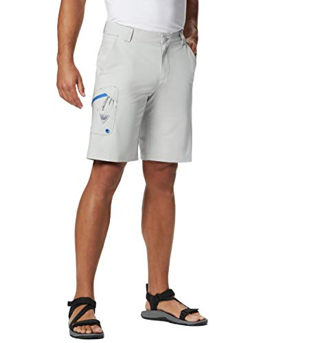 Columbia Men's PFG Terminal Tackle Short, Cool Grey, Vivid Blue,36 x 10