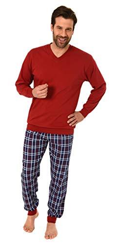 Normann Herren Pyjama, Schlafanzug mit Bündchen in eleganter Karo-Optik - 61685, Größe2:48, Farbe:rot