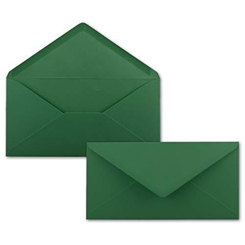 50 Brief-Umschläge Dunkel-Grün DIN Lang - 110 x 220 mm (11 x 22 cm) - Nassklebung ohne Fenster - Ideal für Einladungs-Karten - Serie FarbenFroh®