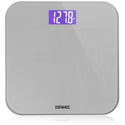 Duronic BS603 Báscula de baño digital - Capacidad máxima de 180kg – Pantalla LCD morada fácil de leer- Diseño de vidrio gris - Enciende al subirse - Peso corporal en kg, lb y st