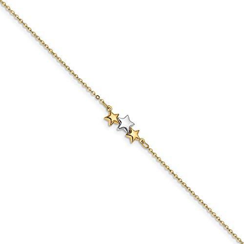 Leslie's Fußkettchen für Damen, 14 Karat Gold, zweifarbig, poliert, Stern