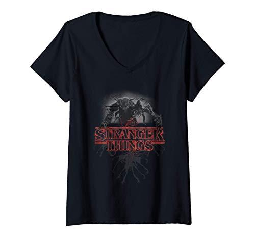 Mujer Stranger Things Demogorgon Glow Logo Camiseta Cuello V