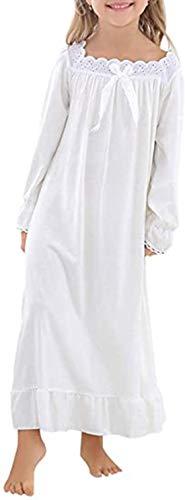 Verve Jelly Mädchen Nachthemden Prinzessin Nachtwäsche Süße Baumwolle Schlafhemden für 10-12 Jahre Weiß