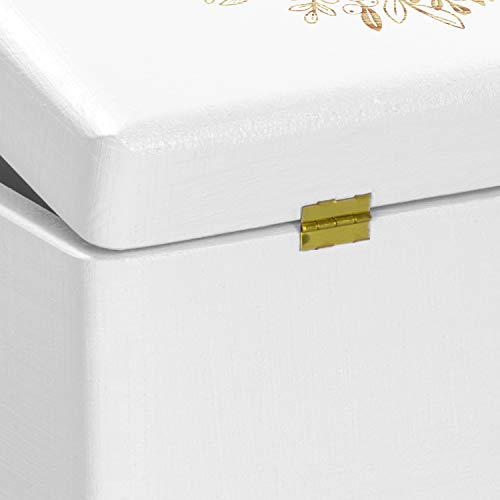 LAUBLUST Holzkiste zur Hochzeit - Florale Raute - Geschenkkiste Personalisiert mit Gravur - ca. 40x30x24cm, Weiß, FSC® - 6
