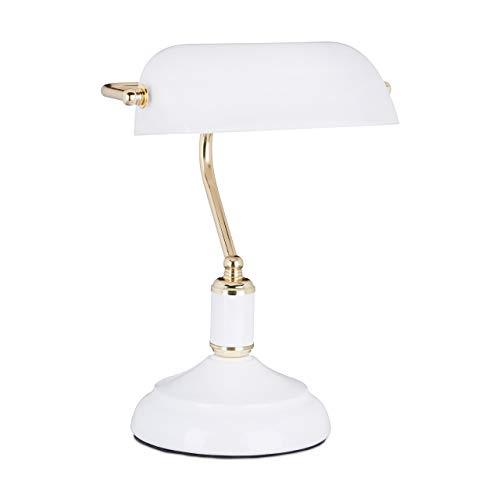 Relaxdays Bankerlampe weiß, Glas Lampenschirm, schwenkbarer, Schreibtischlampe, Retro Stil, Tischlampe Metall, Vintage Tischleuchte HBT 36 x 26 x 21 cm, weiß-gold