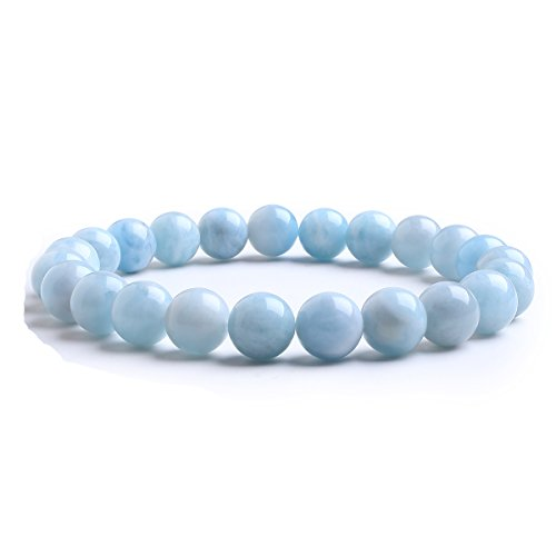 Candyfancy Aquamarin Stein Armband Bergkristall Cyanit Perlen 7MM Bead Elastisch Natürlich Stein Armbänder Damen Herren