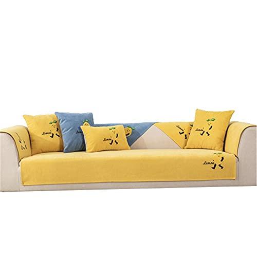 Funda de sofá Decorativa con Parche de limón de Dibujos Animados,Funda Protectora para sofá para reposabrazos,Funda para sofá,Funda para sofá,Amarillo,110 * 210 cm