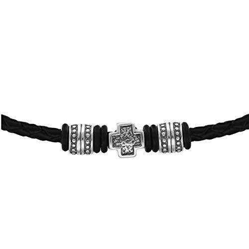 STERLL Caballeros Cadena del Cuello Negro Abalorios con Motivo Cruzado Plata 925 Bolsa de Joyas los Mejores Regalos Para Hombres