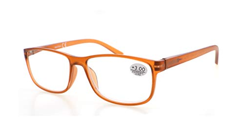 Gafas de Lectura Presbicia PANTONA, Vista Cansada con Filtro Anti Luz Azul. Cristales Anti-reflejantes. Gafas Graduadas de Lectura para Hombre y Mujer. 6 colores y 7 graduaciones. Montura naranja