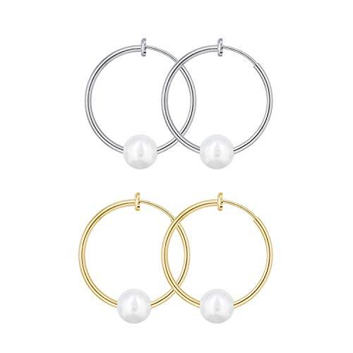 QUKE 2 Pairs Clip On Hoop Earrings Simulated Freshwater Pearl Non Pierced Ears Spring Hoops Earrings for Women Girls
