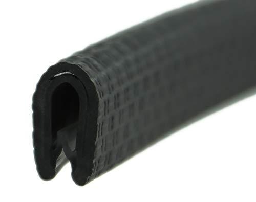 KS1-2S-M Kantenschutzprofil von SMI-Kantenschutzprofi - PVC Gummi Klemmprofil mit Stahleinlage - Kantenschutz - Schwarz, Matt - selbstklemmend ohne Kleber Klemmbereich 1-2 mm (10 m, Schwarz)