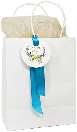 Aizami Thank You Gift Bags with Handles 60Pcs Elegant White Kraft Paper Bags for Wedding Favors product image