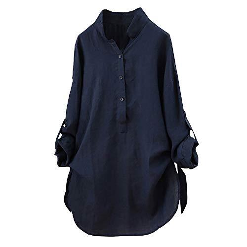 OverDose Damen Herbst Freizeit Stil Frauen Baumwolle Solid Langarm-Shirt beiläufige lose Bluse Beach Party Button-Down-Tops Pullover(Marine,EU-54/CN-5XL)