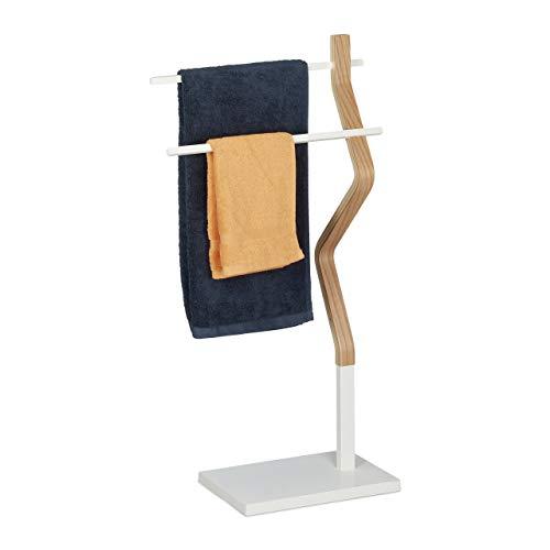 Relaxdays Handtuchhalter stehend, Handtuchständer mit 2 Stangen, für Hand-& Geschirrtücher, Holz & Metall, weiß/Natur, 1 Stück