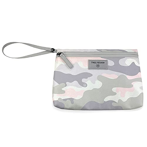 TWELVElittle On The Go Insulated Pouch -– Keeps Items Warm or Cold – Travel Pouch with Ice Pack (Blush Camo)
