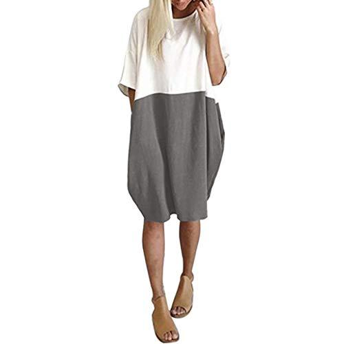 Looekveoyi Kvinnor enfärgad stickad fladdermus ärm bomull topp sommar linne ficka 1/2 ärm t-shirt klänning damer ledig daglig lös midi-klänning