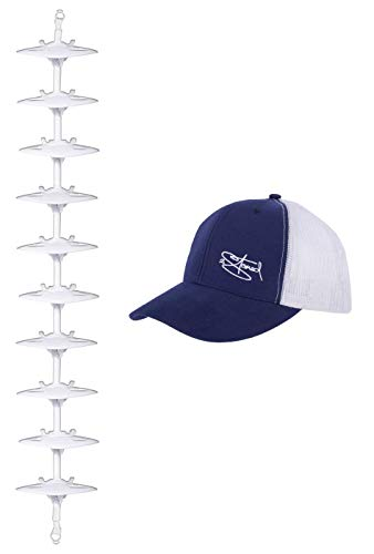 2Stoned Cap-Rack Pro Kappenhalter in Weiß mit 10 Clips zum Aufhängen von bis zu 30 Baseball Caps + Zugabe