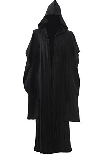 Allten Men's Costume Darth Maul Black Tunic Hooded Robe Cloak XL