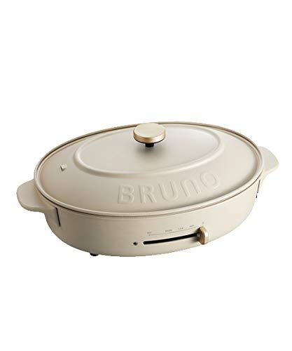 BRUNO ブルーノ オーバルホットプレート 本体 プレート3種 (たこ焼き 深鍋 平面) グレージュ Greige おすすめ おしゃれ かわいい これ1台 一台 蓋 ふた付き 1200w 温度調節 洗いやすい 1人 2人 3人用 小型 ひとり暮らし にも BOE053-GRG