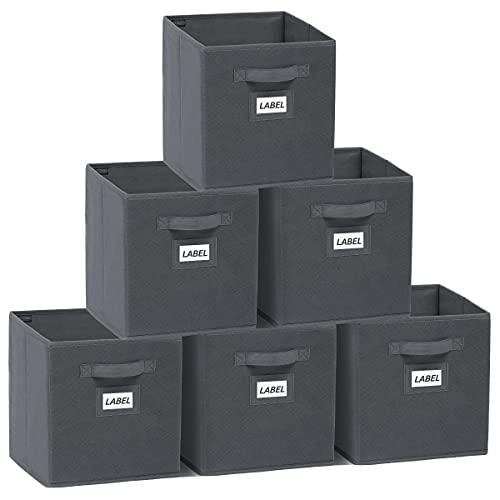 YOUDENOVA Aufbewahrungsbox 6er Pack mit Etikettenkarte Faltbox Aufbewahrungskiste Storage Boxes Ordnungsbox Faltbare Kisten 27x27x28 Grau A