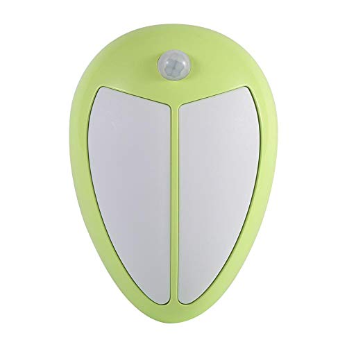 Nikou Ligero LED Luz Nocturna Inalámbrico Infrarrojo Movimiento Compacto Sensor Porche Lámpara de Pared Dormitorio Pasillo Gabinete inducción automática(Luz cálida de Concha Verde)