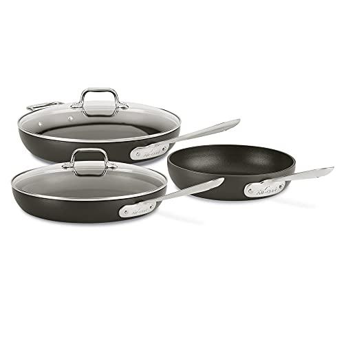 All-Clad HA1 Nonstick Hard Anodized Cookware Set, 5 piece, Black