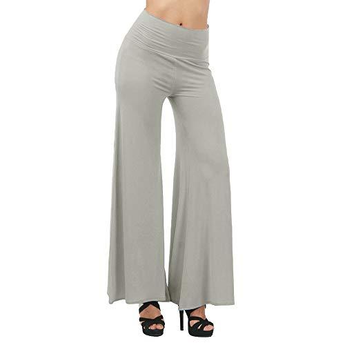 Femmes Pantalon Taille haute, Toamen Yoga Dance Full Pants Pantalon large Couleur unie Leggings Grande taille Taille S ~3XL (S, Gris)